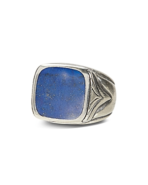 John Varvatos Sterling Silver Square Lapis Ring