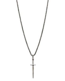 "John Varvatos Collection - Sterling Silver Skull & Daggers Black Diamond Pendant Necklace, 24"""