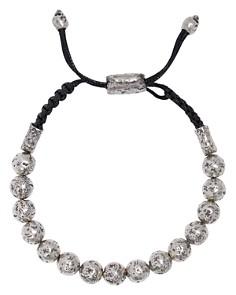 John Varvatos Collection - Sterling Silver Distressed Bead Adjustable Bracelet