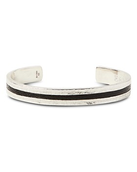 John Varvatos Collection - Sterling Silver & Black Leather Cuff