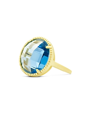 Freida Rothman Imperial Blue Single Stone Cocktail Ring in 14K Gold-Plated Sterling Silver