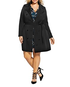 City Chic Plus - Lace-Up Back Trench Coat