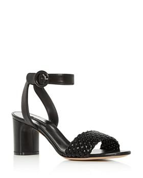 Casadei - Women's Woven Ankle-Strap Block-Heel Sandals