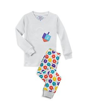 Sara's Prints - Unisex Dreidel-Print Hanukkah Pajama Shirt & Pants Set - Little Kid