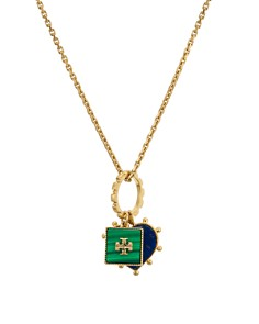 "Tory Burch - Heart & Logo Pendant Necklace, 19"""