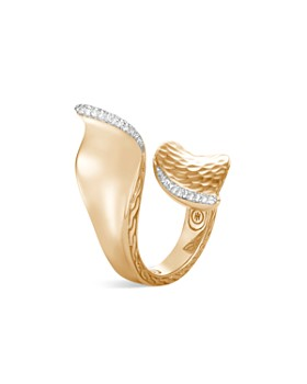 JOHN HARDY - 18K Yellow Gold Classic Chain Hammered Wave Bypass Ring with Pavé Diamond