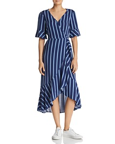 Band of Gypsies - Ruffled Striped Midi Dress