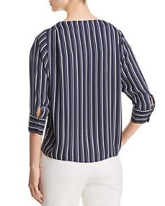 T Tahari - Striped Three-Quarter Sleeve Blouse