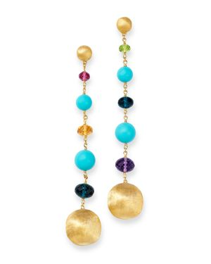 Marco Bicego 18K Yellow Gold Gemstone & Turquoise Long Drop Earrings