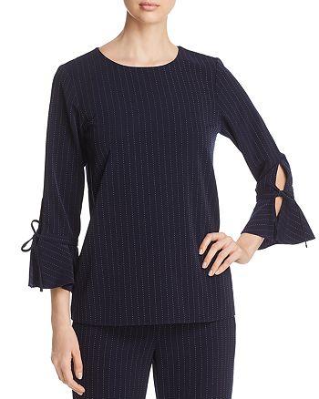 Calvin Klein - Pindot Stripe Tie-Sleeve Top