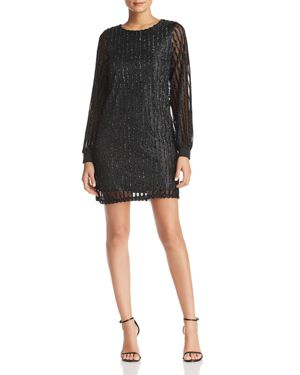 Vero Moda Shane Textured Metallic Stripe Mini Dress