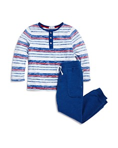 Splendid - Boys' Reverse-Stripe Long Sleeve Henley & Jogger Pants Set - Little Kid