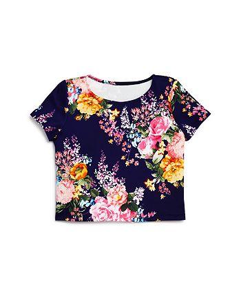 AQUA - Girls' Floral Short Sleeve Top - Big Kid - 100% Exclusive