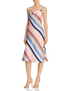 Lucy Paris - Siena Rainbow-Stripe Slip Dress