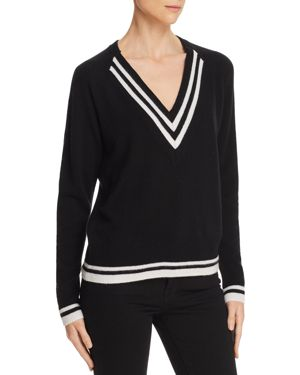 AQUA Cashmere Varsity Stripe V-Neck Sweater - 100% Exclusive in Black/Snow
