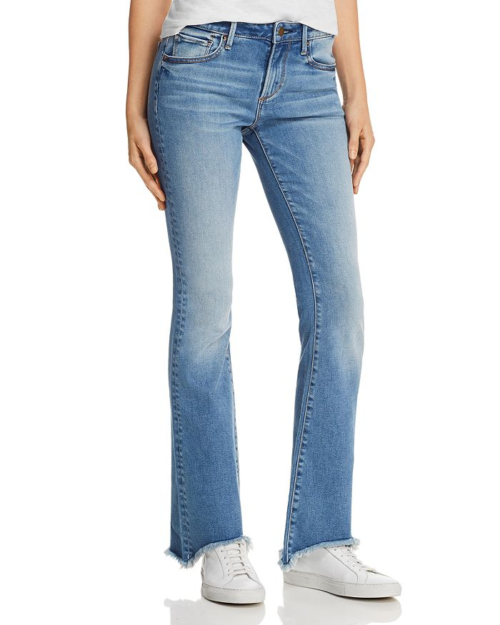 AQUA - Step-Hem Flared Jeans in Light Wash - 100% Exclusive