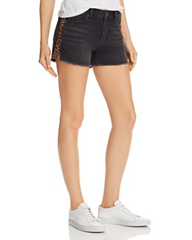 AQUA - Leopard Track Stripe Denim Shorts in Black - 100% Exclusive