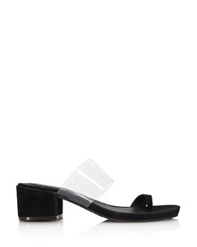 Kenneth Cole - Women's Lizzie Clear & Suede Block Heel Sandals - 100% Exclusive