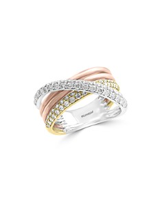 Bloomingdale's - Diamond Crossover Ring in 14K White, Yellow & Rose Gold, 0.80 ct. t.w. - 100% Exclusive