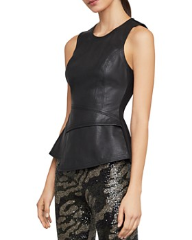 BCBGMAXAZRIA - Tori Faux Leather & Ponte Peplum Top