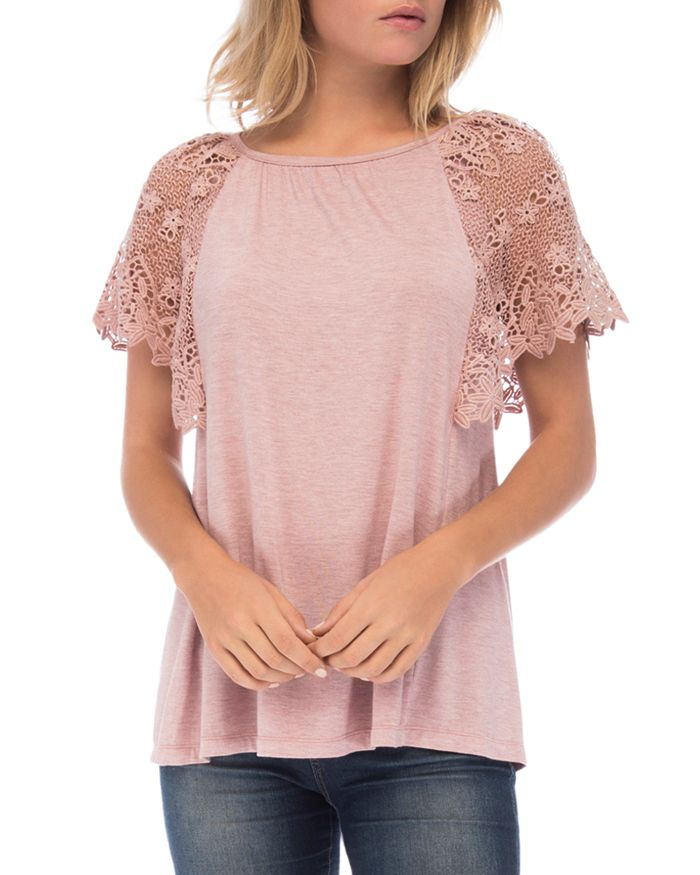 B Collection by Bobeau - Marina Lace-Sleeve Top