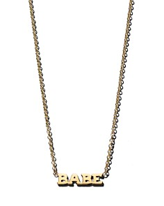 """Zoë Chicco - 14K Yellow Gold Itty Bitty BABE Necklace, 16"""""""
