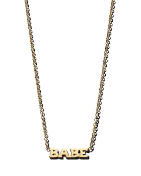 Zoë Chicco - 14K Yellow Gold Itty Bitty BABE Necklace, 16""