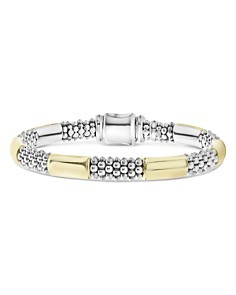 LAGOS - 18K Yellow Gold & Sterling Silver High Bar Station Bangle Bracelet