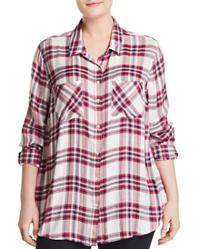 Lucky Brand Plus - Classic Plaid Button Down Top