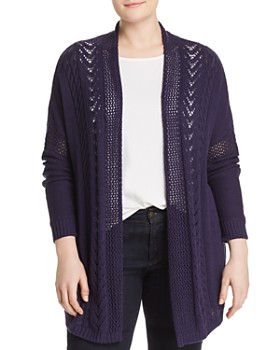 One A Plus - Pointelle Open Duster Cardigan