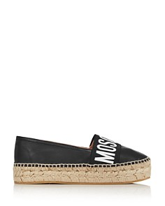 Moschino - Women's Logo Leather Espadrille Flats