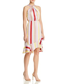 Lucy Paris - Patricia Striped Ruffle-Hem Dress