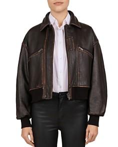 The Kooples - Leather Bomber Jacket