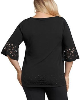 Belldini Plus - Laser-Cut Bell-Sleeve Top