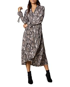 600d0f12fd KAREN MILLEN - Snake Print Midi Wrap Dress ...