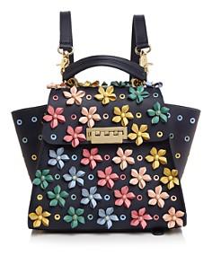 ZAC Zac Posen - Eartha Rainbow Flower Appliqué Leather Convertible Backpack