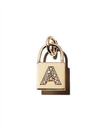 Zoë Chicco - 14K Yellow Gold Initial Padlock Charm with Diamonds