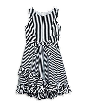US Angels - Girls' Sleeveless Striped Ruffle Dress - Big Kid
