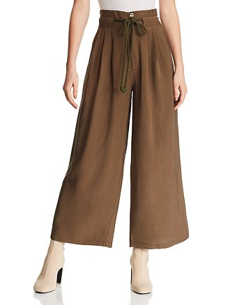 AQUA - Pleated Wide-Leg Pants - 100% Exclusive