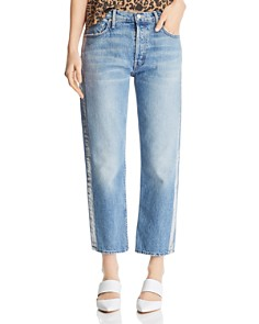 MOTHER - Thrasher Metallic-Stripe Cropped Straight-Leg Jeans in Striped Wicked