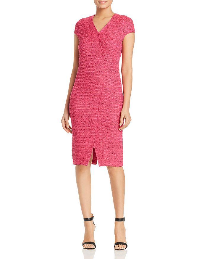 157d75f4 St. John Andrea Asymmetric-Seamed Bouclé Sheath Dress | Bloomingdale's
