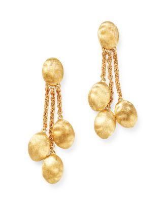 18 K Yellow Gold Siviglia Three Strand Chain Link Drop Earrings by Marco Bicego
