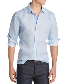 The Men's Store at Bloomingdale's - Geometric-Print Linen Classic Fit Shirt - 100% Exclusive
