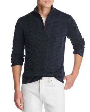 THE MEN'S STORE AT BLOOMINGDALE'S The Men'S Store At Bloomingdale'S Suede-Accented Half-Zip Cable-Knit Sweater - 100% Exclusive in Dark Blue