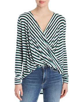 Vero Moda - Irene Draped Faux-Wrap Stripe Top