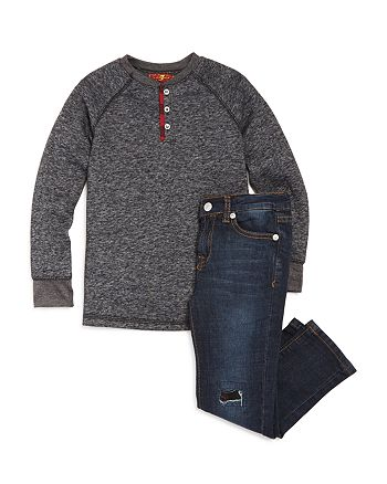 7 For All Mankind - Boys' Henley Tee and Jean Set - Little Kid
