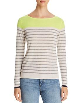 Majestic Filatures - Striped Color Block Cashmere Sweater