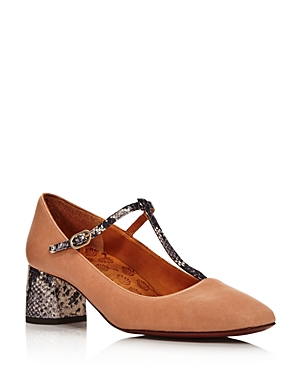 Chie Mihara Women's Turnout Snake-Embellished Mary Jane Pumps