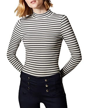 Karen Millen Knits STRIPED RIB-KNIT TOP