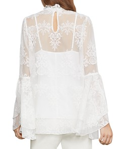 BCBGMAXAZRIA - Embroidered Tulle Bell-Sleeve Top